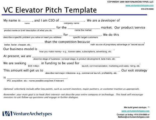 VC Elevator Pitch Template Source: www.venturarchetypes.com